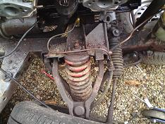 The old GT6 Mk3 front suspension unit as originaly fitted